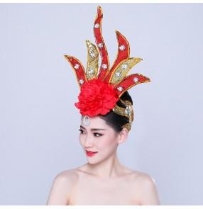 Chinese folk dance head flowers flmaneco headdress dance performance headwear Yangko opening stage performance glitter head flower for female