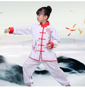 Chinese folk Kung Fu costumes for boys and girls Martial arts clothing children's practice clothes performance uniforms long sleeves martial arts training suits