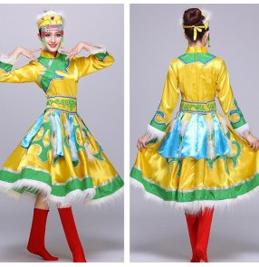 Chinese folk Mongolian dance dress for women female red colored stage performance photography drama cosplay Mongolian dance robes costumes for young girls