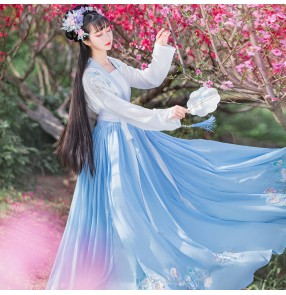 Chinese han tang qing ming pink blue Hanfu photos shooting fairy princess cosplay dresses women's embroidered Chinese style elegant big-sleeved shirt full waist skirt