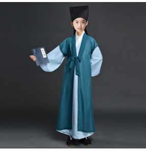 Chinese Hanfu costume for children Boy Song Dynasty Ancient poets Robe Tang Dynasty Students recite ancient poems and perform costumes