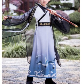 Chinese Hanfu for boy Ancien prince cosplay robe Children Han Tang Clothes chinese kung fu wushu swordsman stage performance gown