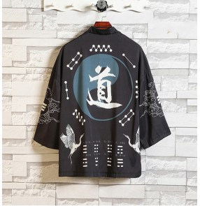 Chinese Hanfu for male Taoist layman clothes Chinese ancient folk costumes kimono cardigans tops retro style men's robe cloak Chinese kungfu Tang suit