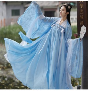 Chinese hanfu for women light blue chinese traditional film cosplay light blue fairy princess dresses anime drama cosplay kimono dress for female
