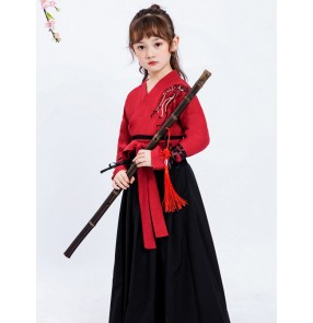 Chinese Hanfu girls Chinese style drama film cosplay fairy princess dresses ancient Tang suit little girl ancient costume children classical dance costumes