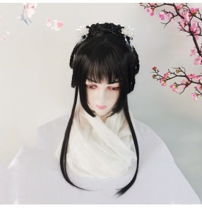 Chinese hanfu wig anime drama fairy princess hair drama cosplay wig with bangs