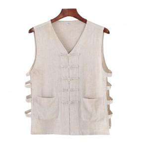Chinese kungfu tai chi waistcoat for men Linen Vest Sleeveless V-neck Chinese Undershirt Retro Men's Trendy Chinese Style Hanfu T-shirt