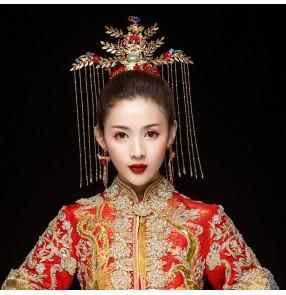 Chinese Oriental Style Traditional Bridal Headdress empress princess drama photos cosplay Phoenix Crown Wedding Hair Accessories  Bride Hairpins
