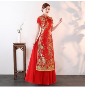 Chinese qipao dresses traditional chinese dresses for women retro vintage show model performance host evening party cheongsam dress