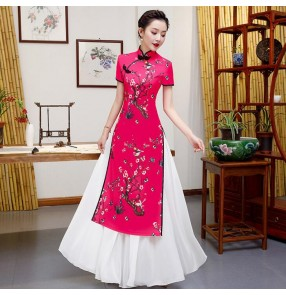Chinese qipao dresses women's girls stage performance chinese dresses oriental  show performance cheongsam dresses