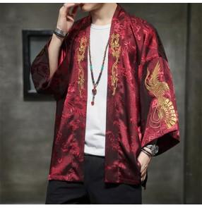 Chinese style Dragon tang suit embroidery Hanfu men's long-sleeved jacket ancient style kimono cardigan top yukata Taoist robe Tang suit