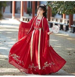 Chinese Style hanfu Han Tang Song Ming Dynasty Dresses Female Costume Woman Hanfu White and Red Kimono Outfit for Women