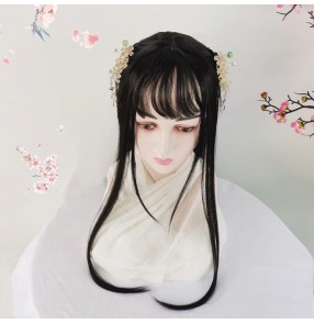 Chinese style lolita wig chinese hanfu anime drama film fairy princess cosplay long straight wig with bangs
