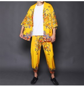 Chinese style retro yellow jacket male dragon robe suit Ancient style robes Hanfu emperor clothes Kimono costume shirt and pants