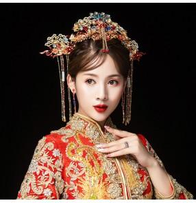 Chinese Style Traditional Bridal Headdress Drama empress cosplay Wedding Hair Accessories Phoenix Crown Bride Hairpins