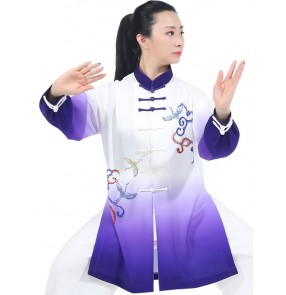 chinese Tai chi kung fu uniforms for women purple green gradient martial art wushu tai ji quan stage performance clothing morning fitness exercises fitness top and pants for female