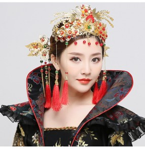Chinese Tang Dynasty Empress Phoenix hair accessories queen photos drama fairy cosplay Hairdressing Hanfu Palace Court Royal Fringe Headwear Hairpin Jewelry