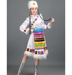 Chinese Tibetan dresses white Tibetan dance performance dresses women's ethnic minority clothing opening skirt Mongolian clothing