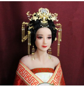 Chinese traditional ancient Tang Dynasty empress Queen Princess hair accessories Dragon and Phoenix brides fairy cosplay Dress Headpiece Fringed Hairpin