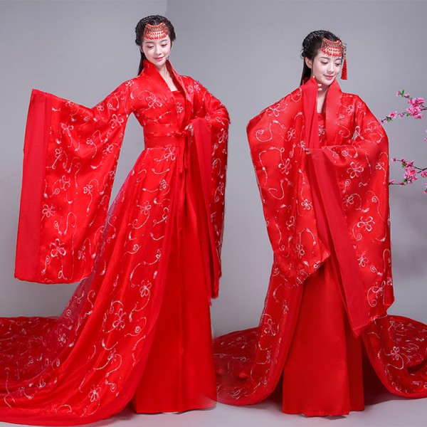 9cc1fe9ab Chinese traditional ancient Tang Dynasty Queen Fairy performance costumes  Hanfu ancient women's Chinese bride wedding cosplay dress