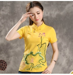 Chinese traditional cheongsam qiapao dress tops for women female retro embroidered plus size shirts blouses