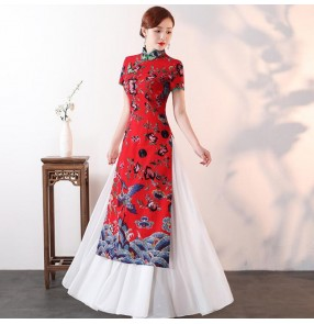 Chinese traditional cheongsam qipao dresses women female retro oriental chinese dresses printed host stage performance drama cosplay dresses