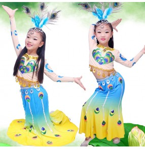 Chinese Traditional dance Dress for children kids rainbow colored Thailand Girls Dai National Folk Fan Dance Costume Long Mermaid Peacock Dance Costume Dress