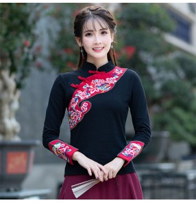 Chinese traditional embroidered pattern retro tops women's female qipao dresses blouses shirts