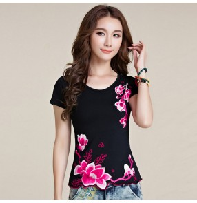 Chinese traditional embroidery retros tops qipao blouses t shirts for women plus size tops