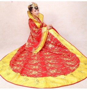 Chinese traditional empress Costume queen long tail princess dresses fairy drama cosplay ancient stage Hanfu photography Tang robes brides costume