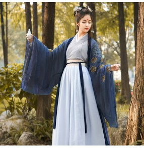 Chinese Traditional Fairy Costumes for girls women Ancient Han Dynasty Princess Hanfu Outfit Stage Dress Folk Dance Costume