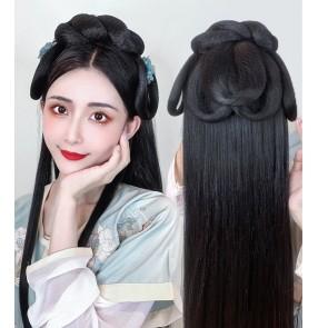 Chinese traditional folk Hanfu fairy dress Wig Hair Accessories Hair Bun Ancient classical dance Costume Modeling Hair Band princess long straight hair Headdress