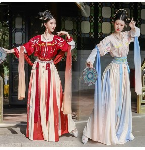 Chinese traditional Hanfu female fairy princess empress photos shooting cosplay dresses for women six-meter swing half-arm Dunhuang flying waist skirt