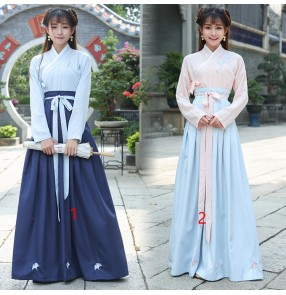 Chinese Traditional Hanfu for women girls Cosplay Costume Ancient Han Dynasty Stduent Stage Show Dress Chinese Folk Dance Outfits