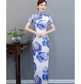 Chinese traditional qipao dresses for women girls white and blue printed model show photography evening party cheongsam dresses