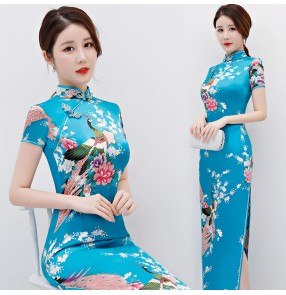 Chinese traditional qipao dresses for women retro silk oriental cheongsam dresses evening party cocktail show dresses