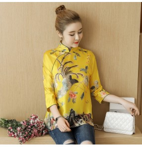 Chinese traditional qipao dresses tops gold  blouses embroidered dragon pattern retro shirts blouses