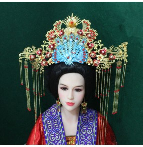 Chinese traditional queen empress Ancient headdress tang dynasty tasse blue phoenix dragon and phoenix hair accessories Hanfu hairpin