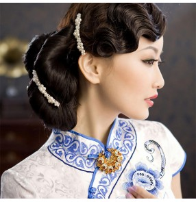 Chinese traditional retro qipao dresses cosplay front bangs for women Republic of China Shanghai cheongsam photos performance wave bangs hair piece
