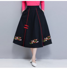 Chinese traditional retro qipao dresses embroidered skirts for women female straight long skirt