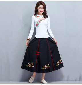 Chinese traditional retro qipao women embroidered dresses tops and skirts