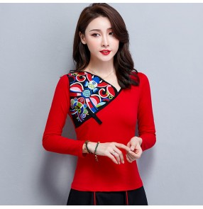 Chinese traditional retro tops embroidered pattern plus size female minority qipao dress tops blouses
