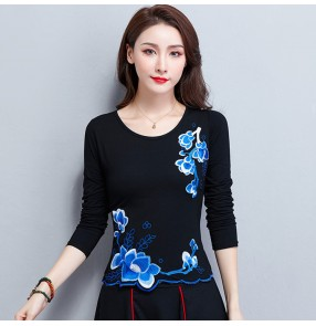 Chinese traditional retro tops women plus size embroidered qipao dress blouses t shirts for women female