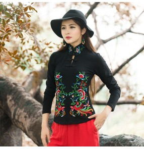 Chinese traditional tang suit qipao dress tops for women female  black wine retro embroidered blouses shirts