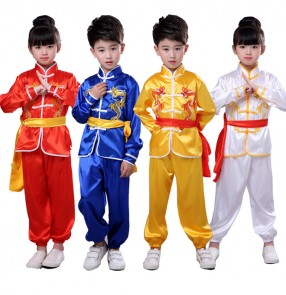 Chinese traditional wushu kungfu martial uniforms girls children boys stage performance competition kungfu taichi martial suit costumes