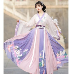 Chinese violet Hanfu female wei jin han tang dynasty photos fairy dresses women cross-collar waist skirt super fairy Chinese style spring and autumn summer full set