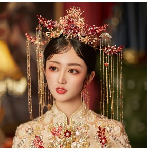 Chinese wedding party bridal phoenix crown hair accessories ancient traditional empress queen drama photos cosplay headdress