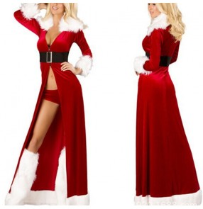 Christmas long cloak xmas masquerade party dress DS nightclub bar Christmas bar performance dress for female