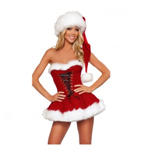 Christmas masquerade party performance dresses for women Christmas uniforms XMAS party cosplay costumes Christmas dresses with hats