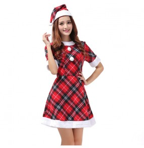 Christmas party cosplay costume red plaid hat suit dress for women bar performance costume Christmas costume Christmas adult clothes